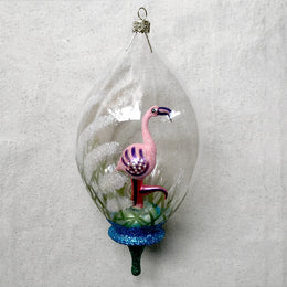 Pink Flamingo Dome Ornament