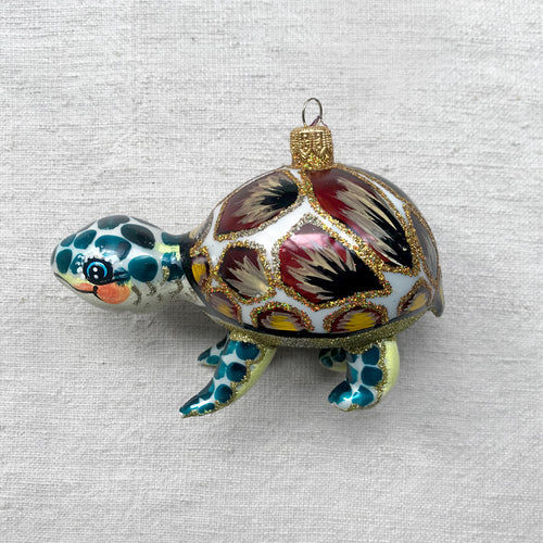 Yellow & Turquoise Turtle Ornament