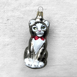 Gray & White Cat with Red Bow Ornament