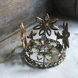 Antique Jeweled Flower Gold Crown