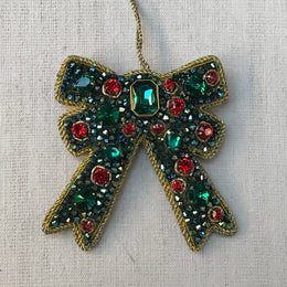 Green & Red Crystal Cluster Bow Ornament