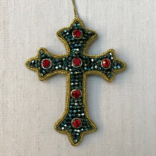 Green & Red Crystal Cluster Cross Ornament