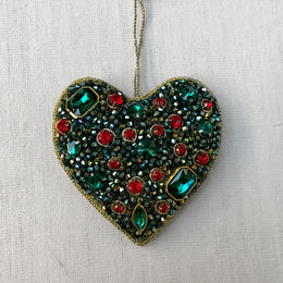Green & Red Crystal Cluster Heart Ornament