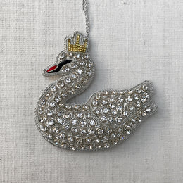White Velvet Swan Ornament with Encrusted Crystals