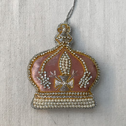 Pale Pink Velvet Crown Ornament with Crystals and Ermine