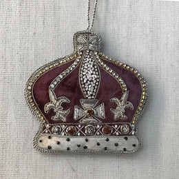 Plum Velvet Crown Ornament with Crystals and Ermine