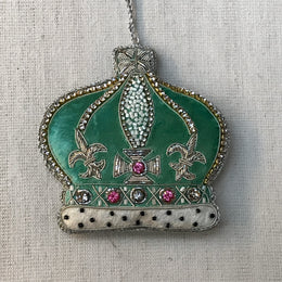 Eau de Nil Crown Ornament with Crystals and Ermine