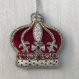 Wine Velvet Crown Ornament with Crystals and Ermine