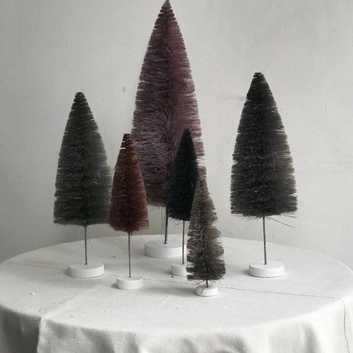 Set of 6 Rainbow Bottle Brush Trees in Purple