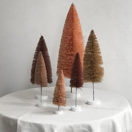 Set of 6 Rainbow Bottle Brush Trees in Rose
