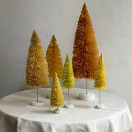 Set of 6 Rainbow Bottle Brush Trees in Yellow