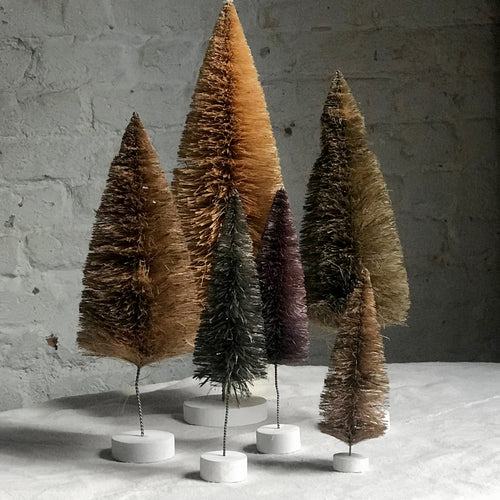 Set of 6 Rainbow Bottle Brush Trees in Brown