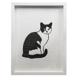 """Cat Facing Right"" Lino-cut in Custom Frame"