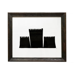 """Black Castle"" Linocut in Vintage Frame"
