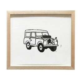 """Land Rover"" Lino-cut in Custom Frame"