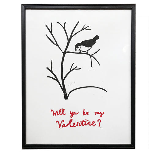"""Will you be my Valentine"" Lino-cut in Vintage Frame"
