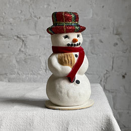 Ino Schaller Small Snowman in Red Hat & Scarf