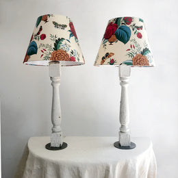 Pair of Painted Balustrade Lamps with Custom Olya Thompson Shades