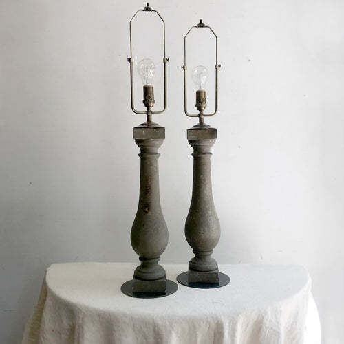 Pair of Victorian Balustrade Lamps with Custom Decors Barbares Shades