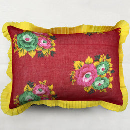 Organza Ruffle Pillow in Red and Yellow Floral