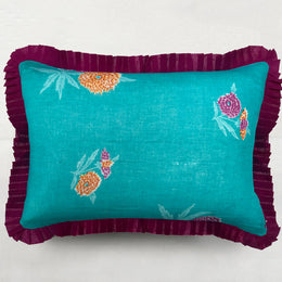 Organza Ruffle Pillow in Aqua and Fuchsia Floral