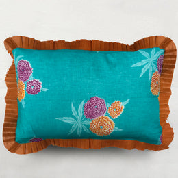 Organza Ruffle Pillow in Aqua and Orange Floral