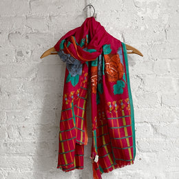 Lisa Corti Wool Shawl in Red