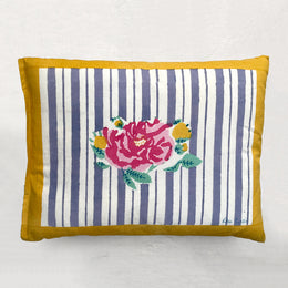 Small Striped Rose Pillow