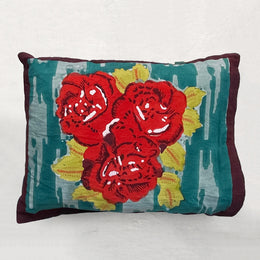 Small Red Paradise Garden Pillow