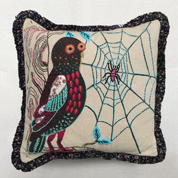 Nathalie Lete Embroidered Grey Owl Cushion