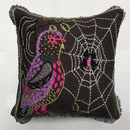 Nathalie Lete Embroidered Purple Owl Cushion