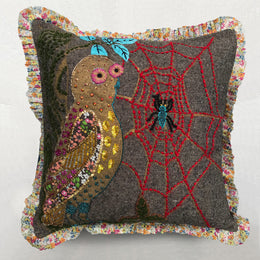 Nathalie Lete Embroidered Golden Owl Cushion