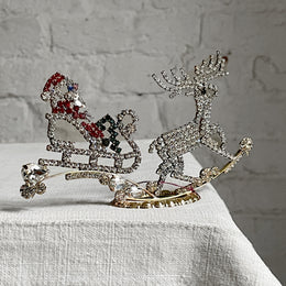 Nostalgic Large Jeweled Santa in Sleigh