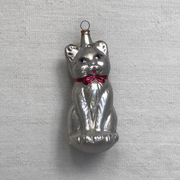 Nostalgic Large Silver Cat Ornament