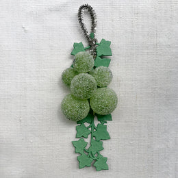 Nostalgic Green Glass Berries with Paper Leaves Ornament