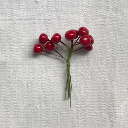 Nostalgic Red Cotton Berries Twist-Tie Ornament Set