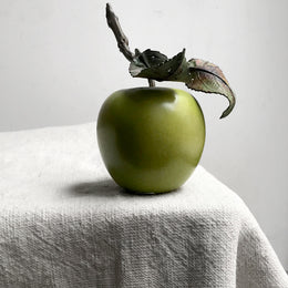 Porcelain Granny Smith Apple with Leaves