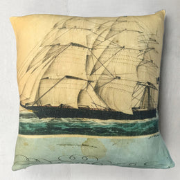 "John Derian for Goldfinch ""Ship"" Wool Pillow"