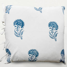 Indian Flower Euro Pillow in Indigo