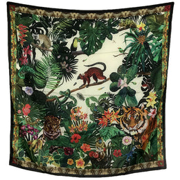 """Jungle Creme"" Silk Scarf"