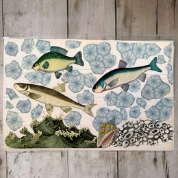 One of a Kind Collaged Mat - Three Fish