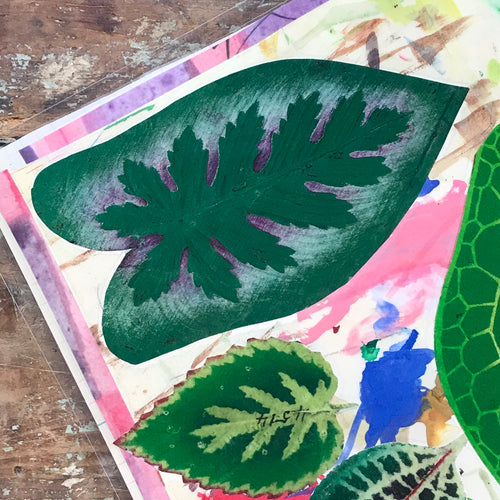 One of a Kind Collaged Mat - Six Leaves