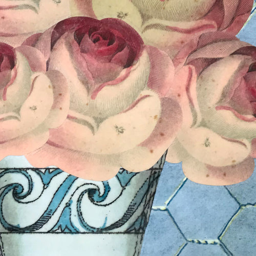 One of a Kind Collaged Mat - Roses in Wave Vase
