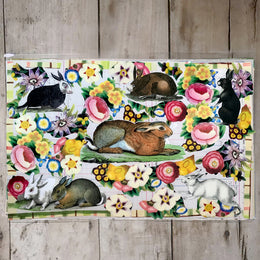 One of a Kind Collaged Mat - Rabbits in the Garden