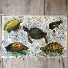 One of a Kind Collaged Mat - Turtles & Toad