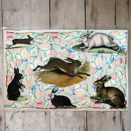 One of a Kind Collaged Mat - Rabbits