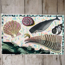 One of a Kind Collaged Mat - Sea Life