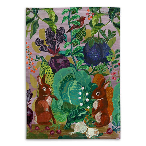 Rabbits in the Cabbage Patch Tea Towel