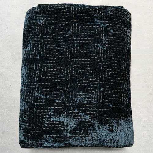 Metril Silk Velvet Embroidered Quilt in Indigo