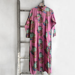 Long Open Floral Kurta in Pink